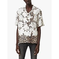 AllSaints Leopon Floral Leopard Short Sleeve Shirt, Ecru