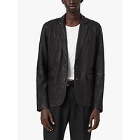 AllSaints Barton Leather Blazer, Black