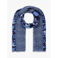 Brora Camouflage Wool Stole Scarf, Lapis