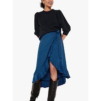 hush Zuri Houndstooth Wrap Skirt, Black/Blue