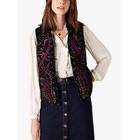 Monsoon Velvet Embroidered Waistcoat, Black/Multi