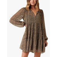 Forever New Ebony Smock Printed Mini Dress, Chocolate Speckle