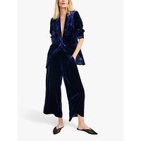 NRBY Chloe Silk Blend Velvet Wide Leg Trousers, Navy