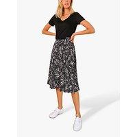 Sosandar Heart Wrap Skirt, Black/White