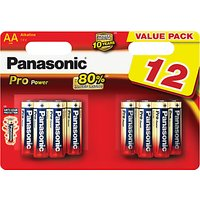 Panasonic Pro Power Alkaline AA Batteries, Pack of 12