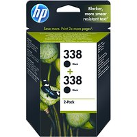 HP 338 Black Inkjet Cartridge, Pack of 2, CB331EE