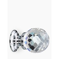 John Lewis Cut Glass Cupboard Knob, Chrome, Dia.30mm