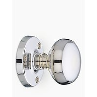 John Lewis Mushroom Mortice Knob, Chrome, Pair, Dia.60mm