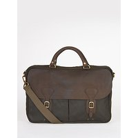 Barbour Wax Cotton And Leather Trim Satchel, Olive