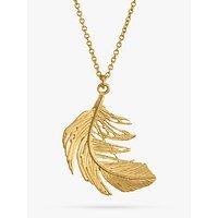 shop for Alex Monroe Big Single Feather Pendant Necklace, Gold at Shopo