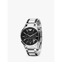 Emporio Armani AR2434 Men's Chronograph Date Bracelet Strap Watch, Silver/Black