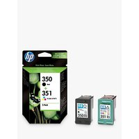 HP 350 Black and 351 Colour Inkjet Cartridges, Pack of 2, SD412EE