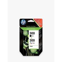 HP 300 Inkjet Cartridge, Tri-Colour/Black, Pack of 2, CN637EE