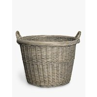 John Lewis and Partners Wicker Log Basket, Grey