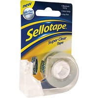 Sellotape Super Clear Tape Dispenser, W1.8cm x L15m