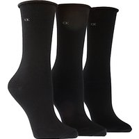 Calvin Klein Roll Top Ankle Socks, Black, One Size