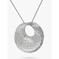 Nina B Sandbrushed Open Pendant Necklace, Silver