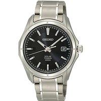 Seiko SNE141P1 Men's Solar Powered Titanium Bracelet Strap Watch, Silver/Black