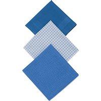 John Lewis & Partners Designer Handkerchiefs, Pack of 3, Blue