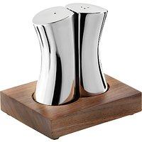 Robert Welch Drift Stainless Steel Salt & Pepper Shakers with Walnut Stand