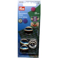 Prym Metal Cover Buttons, 23mm, Pack of 4