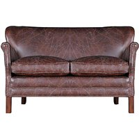Halo Little Professor Small Biker Tan Leather Sofa