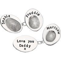 Under the Rose Personalised Fingerprint Cufflinks, Multi
