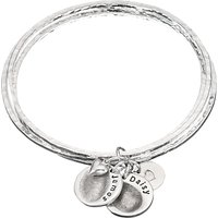 shop for Under the Rose Personalised Fingerprint Bangle, 2 Charms, Silver at Shopo