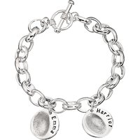 Under the Rose Personalised Women's Fingerprint Charm Bracelet, 2 Charms