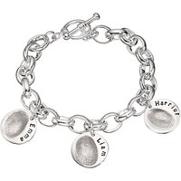 shop for Under the Rose Personalised Women's Fingerprint Charm Bracelet, 3 Charms at Shopo