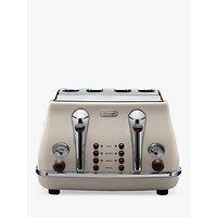 Buy De'Longhi CTOV4003BG Vintage Icona Toaster, 4-Slice, Cream - John Lewis
