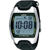 Lorus R2335EX9 Men's Rectangular Digital Rubber Strap Sports Watch, Black