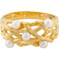 shop for London Road Burlington 9ct Yellow Gold and Pearl Willow Ring, Gold at Shopo