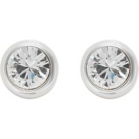Finesse Rhodium Plated Crystal Stud Earrings, Silver