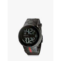 Gucci YA114207 Men's I-Gucci Rubber Strap Digital Watch, Black
