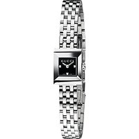 Gucci YA128507 Womens G-Frame Square Dial Stainless Steel Bracelet Strap Watch, Silver/Black