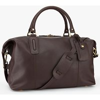 John Lewis Oxford Leather Explorer Holdall, Brown