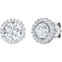 shop for Jools by Jenny Brown Cubic Zirconia Double Diamonte Circle Stud Earrings, Silver at Shopo