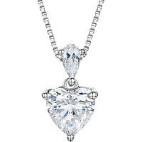 Jools by Jenny Brown Cubic Zirconia Heart Pendant Necklace, Silver