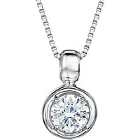 shop for Jools by Jenny Brown Cubic Zirconia Round Pendant Necklace, Silver at Shopo