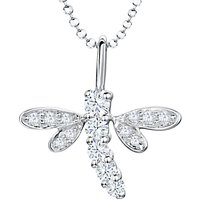 shop for Jools by Jenny Brown Cubic Zirconia Dragonfly Pendant Necklace, Silver at Shopo