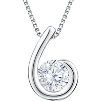 Jools by Jenny Brown Cubic Zirconia Hook Shaped Pendant Necklace, Silver