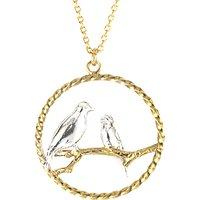 Alex Monroe Lovebirds In Loop Pendant Necklace, Gold/Silver
