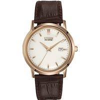Citizen BM7193-07B Mens Eco-Drive Leather Strap Watch, Brown/White