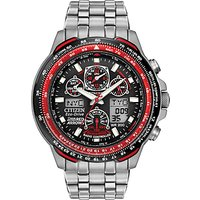 Citizen JY0110-55E Mens Red Arrows Eco-Drive Skyhawk AT Chronograph Bracelet Strap Watch, Silver/Black
