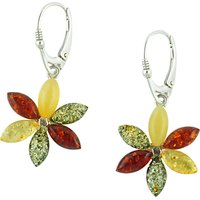 Be-Jewelled Flower Design Drop Earrings, Multi