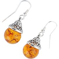 shop for Be-Jewelled Sterling Silver Amber Ball Drop Earrings, Orange at Shopo