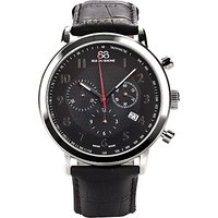 88 Rue Du Rhone 87WA120047 Mens Chronograph Leather Strap Watch, Black
