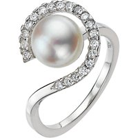 A B Davis Pearl Cubic Zirconia Surround Ring, Silver