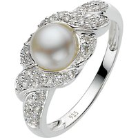 A B Davis Sterling Silver White Pearl Cubic Zirconia Surround Ring, N